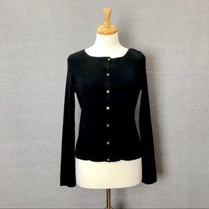 J. CREW 100% Silk Black Cardigan Sweater Size M